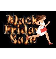Black friday sale woman run vector image