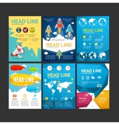 Placard flyer brochure poster set vector