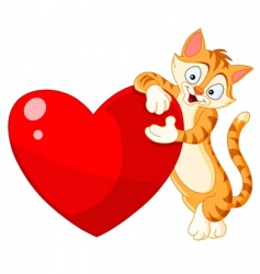 Cat holding heart valentine's vector