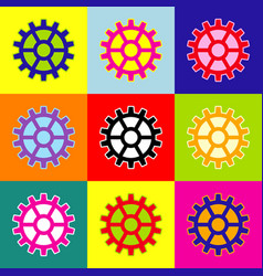 Gear sign  pop-art style colorful icons vector