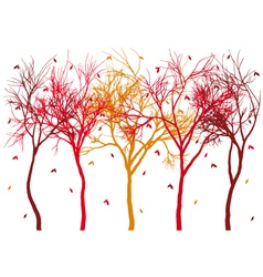 autumn trees with falling leaves vector image