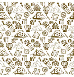 Hand drawn seamless pattern with camping objects vector
