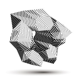 Asymmetric 3d abstract striped object monochrome vector