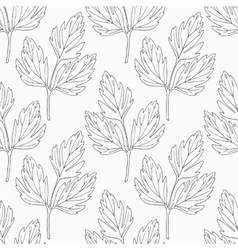 Hand drawn lovage branch outline seamless pattern vector
