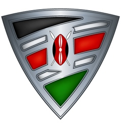 Steel shield with flag kenya vector