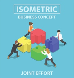 Isometric business people pushing and assembling vector