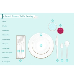 Detailed of dinner table setting vector