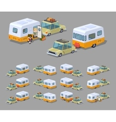 Low poly beige sedan with orange-white motor home vector