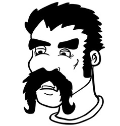 simple black and white moustache man vector image