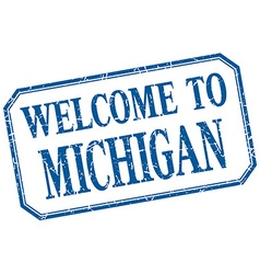 Michigan - welcome blue vintage isolated label vector