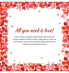 Template with many red hearts and text space vector