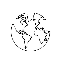 Black line earth globe  over vector
