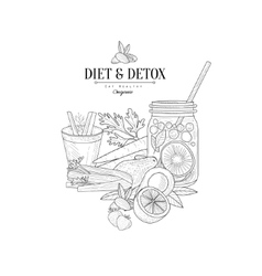 Set of vegan diet food hand drawn realistic sketch vector