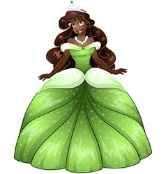 African Princess In Green Dress vector image