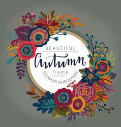 Autumn frame with lettering and place for vector