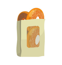 bagels with poppy and sesame seeds in paper vector image