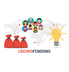Banner - crowdfunding technology concept vector