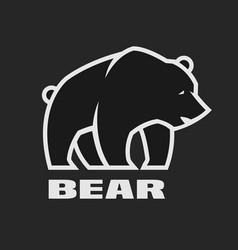 bear monochrome logo on a dark background vector image