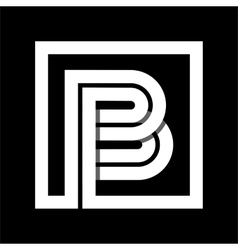 Capital letter b from white stripe enclosed in a vector