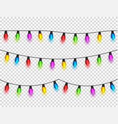 christmas glowing lights on transparent background vector image