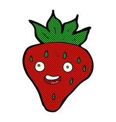 Comic cartoon happy strawberry vector
