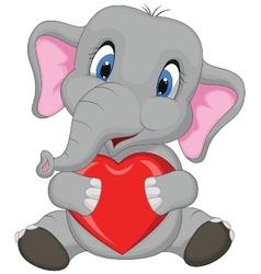 Cute elephant cartoon holding red heart vector image