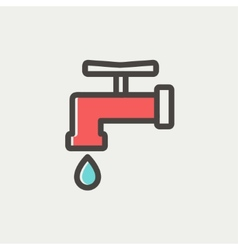 Faucet with water drop thin line icon vector