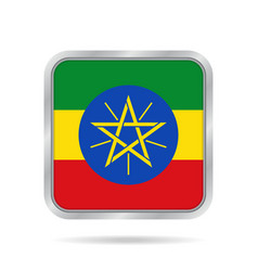 Flag of ethiopia metallic gray square button vector