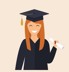 Graduate girl in the mantle keeps in hands vector
