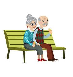 Grandparents on the bench vector