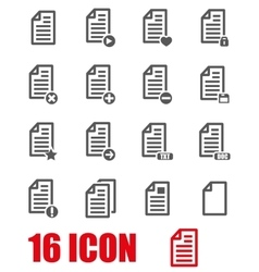 Grey documents icon set vector