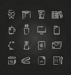 hand drawn office icons on chalkboard vector image vector image
