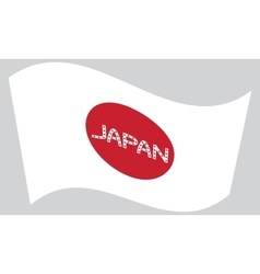 Japanese flag waving with word japan vector