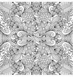 Monochrome summer sketching fabric pattern vector