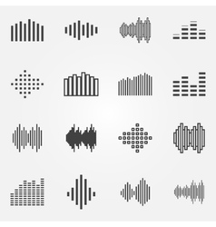 Music soundwave or equalizer icons set vector