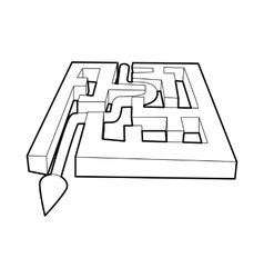 Path with arrow across labyrinth icon vector image