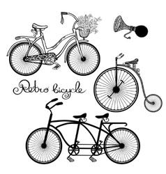 Retro Bicycles Set vector image vector image