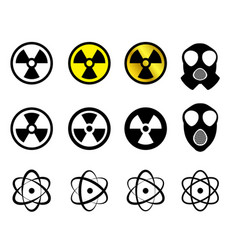 set of nuclear icons in many style vector image vector image