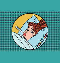 Sick young woman lying in bed with thermometer vector