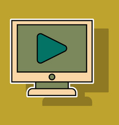 Sticker workplace video player concept of webinar vector