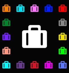 suitcase icon sign Lots of colorful symbols for vector image vector image