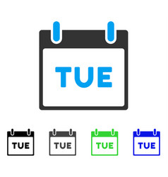 Tuesday calendar page flat icon vector