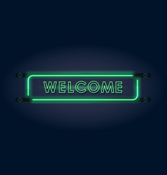 welcome green neon sign vector image vector image
