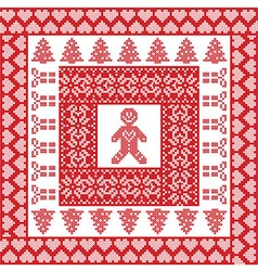 Xmas tile with gingerbread man vector