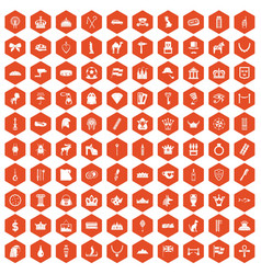 100 crown icons hexagon orange vector
