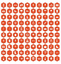 100 park icons hexagon orange vector