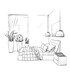 Bedroom modern interior sketch furniture vector
