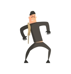 Criminal with rope pushed aginst the wall vector