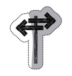 sticker monochrome wooden sign for directions vector image