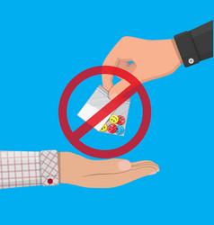 Hand of drug dealer gives bag with narcotics vector